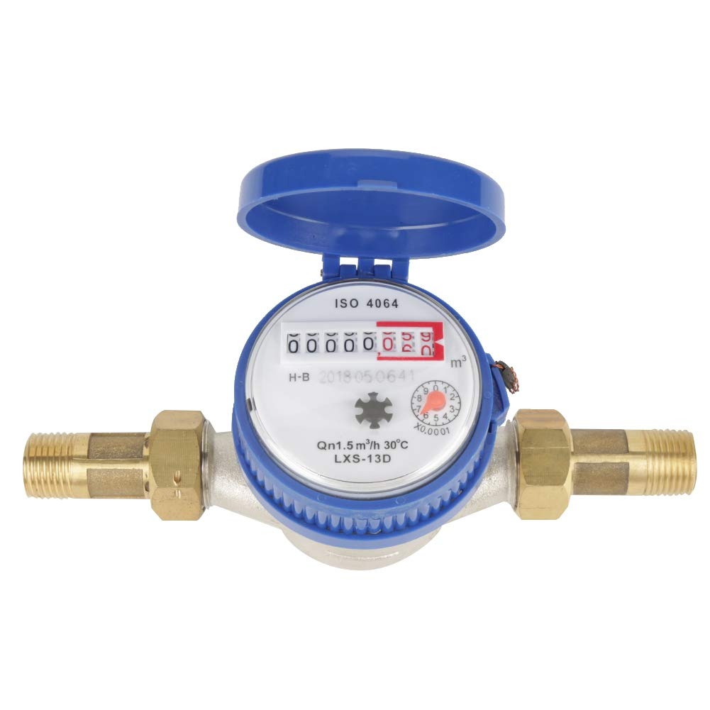 Asixx Water Flow Meter, Water Meter 15mm 1/2 inch Cold Water Meter with Fittings for Garden and Home Usage, Made of Iron and ABS by Walfront