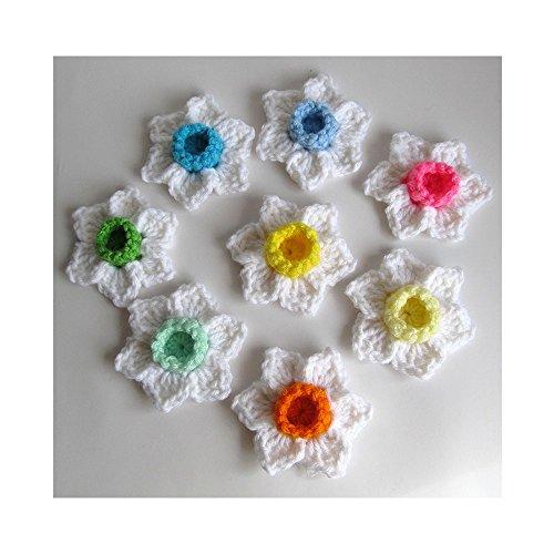 Crochet Flower Appliques Set of 8 / Daffodil Narcissus Jonquil Flowers / Appliques / Crochet Jonquils / Mothers Day Easter Flowers