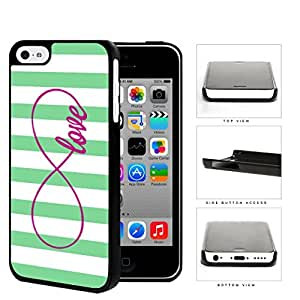 Teal Striped Love Infinity Symbol Hard Plastic Snap On Cell Phone Case Apple iPhone 5c