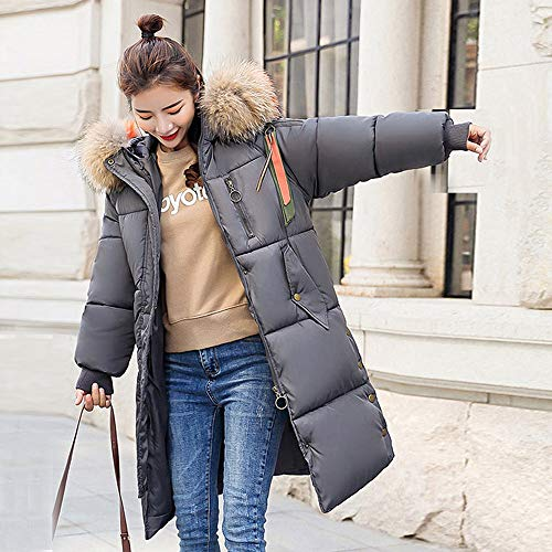 Sungren Fur Invierno Faux Slim Tops Chaqueta Hooded Grueso Largo Abrigo Outwear Gris De Mujer 0qYnwI