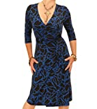 Women's Squiggle Print Wrap Dress Blue US Size 14