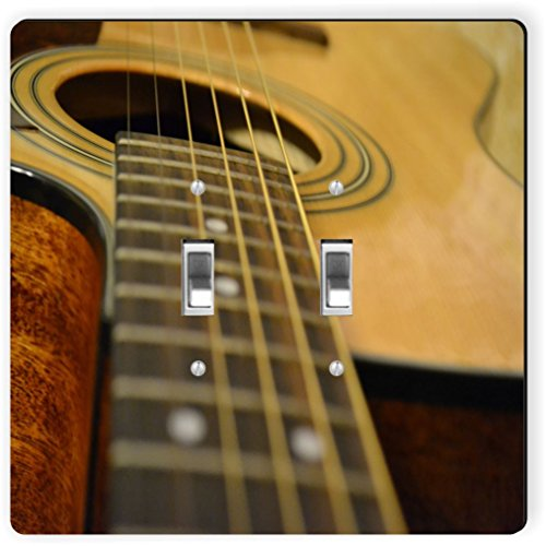 Rikki Knight 9103 Double Toggle Acoustic Guitar Design Light Switch Plate by Rikki Knight