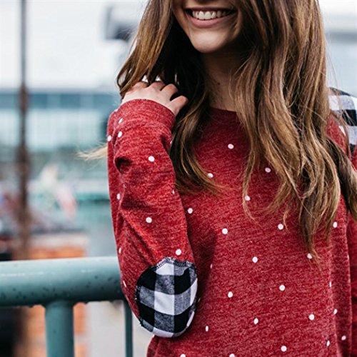 de suéter con blusa Rojo lunares casual superior mujer parte redondo cuello OverDose xwXqtAYf