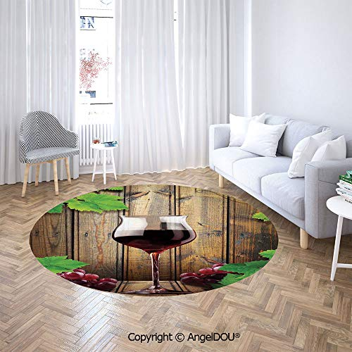 AngelDOU Printed Soft Boys and Girls Round Area Rug Wine Glass Grapes Rustic Wood Kitchenware Home and Cafe Interior Art Design Decorative for Bedroom - Club Estate Wine