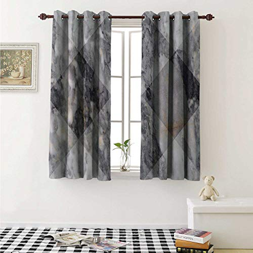 shenglv Marble Waterproof Window Curtain Geometric Diamond Shaped Grunge Granite Rock Facet Forms Ceramic Abstract Print Curtains for Party Decoration W84 x L72 Inch Pale Grey