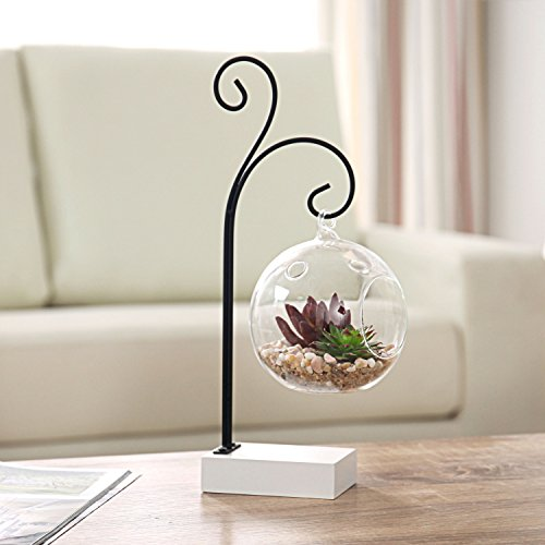 Hanging 4-Inch Glass Air Plant Terrarium Globe with Scrolled Black Metal & White Wood (Faux Metal Ball)