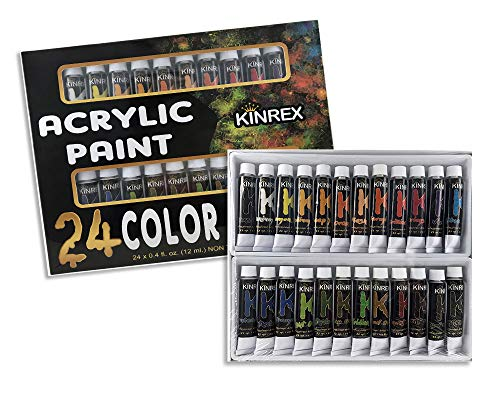 KINREX Acrylic Paint Set for Painting Art, Canvas, Wood, Craft, Fabric - 24 Rich Pigments Quality Colors - Non Toxic & Quick Dry for Kids and Adults