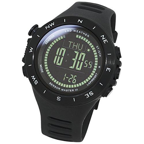 (LAD-WEATHER Swiss Sensor Watch Altimeter Barometer Compass Climbing Trekking Camping Sports Outdoor Watches (Black Black + Direction))