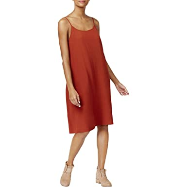 e2b69a0c48 Eileen Fisher Womens Tencel Sleeveless Slip Dress Brown XL at Amazon ...
