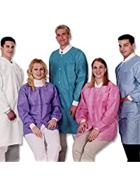 ValuMax 3660CBM Extra-Safe, Wrinkle-Free, Noble Looking Disposable SMS Knee Length Lab Coat, Ceil Blue, M, Pack of 10
