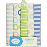 """Luvable Friends """"Color Rings"""" 5-Pack Receiving Blankets - blue, one size"""