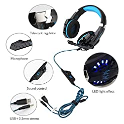Gaming Headset for PS4 Xbox One Nintendo Switch PC Laptop Tablet Smartphone, INSMART 3.5 mm Surround Sound Wired Gaming Headphones with Microphone G9000 (with 3.5 mm 1 to 2 Jack Adaptors)