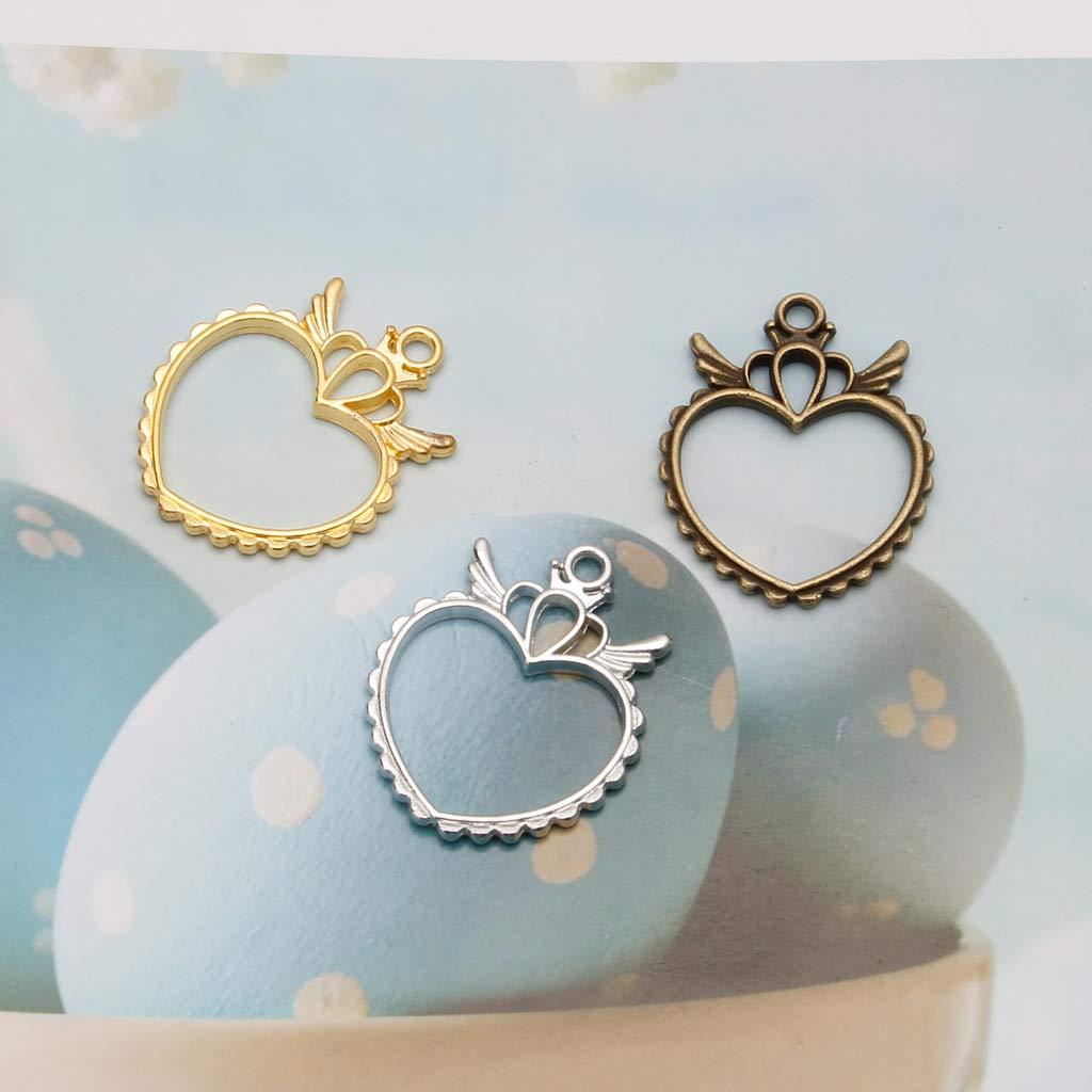 wuweiwei12 5Pcs Hollow Wings Heart Frame Pendant Open Back Bezel UV Resin Jewelry Making