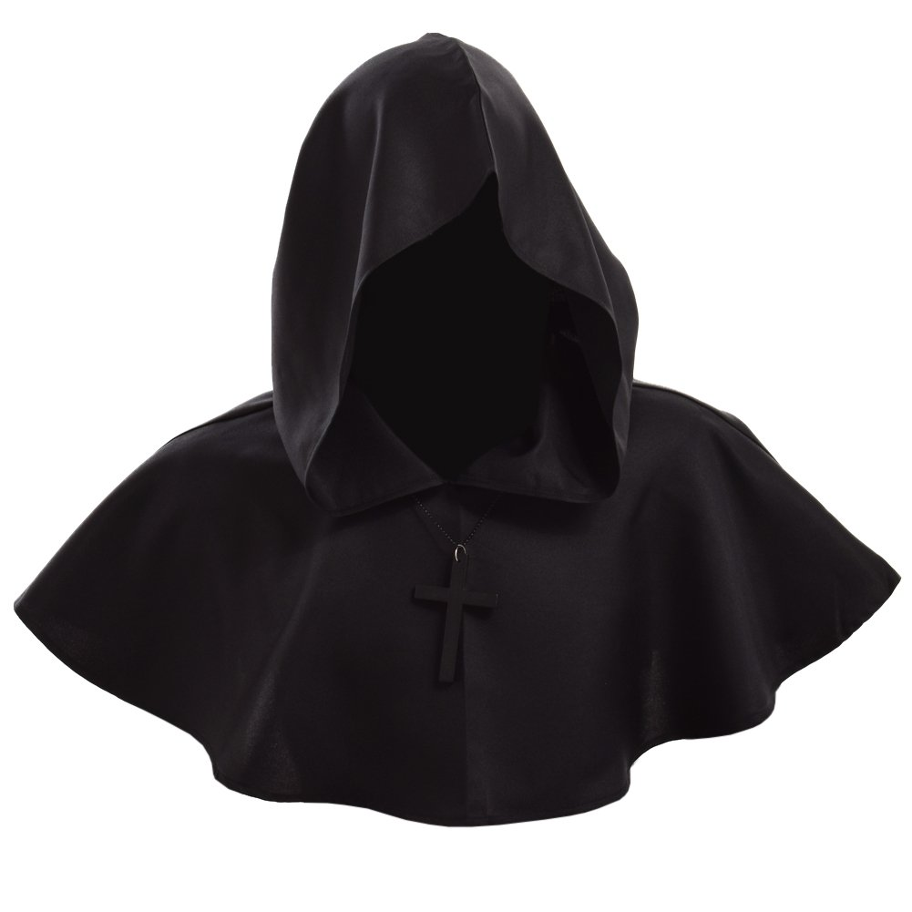 Men's Medieval Pagan Black Shoulder Cowl Hood - DeluxeAdultCostumes.com