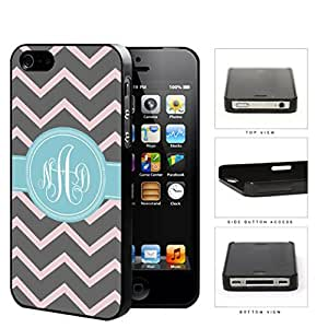 Gray And Pink Chevron With Light Blue Monogram (Custom Initials) Hard Plastic Snap On Cell Phone Case Apple iPhone 4 4s