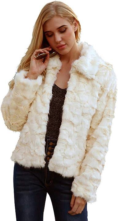 TIMEMEANS Womens Lapel Long Sleeve Faux Shearling Coat Winter Boyfriend Winter Faux Coat