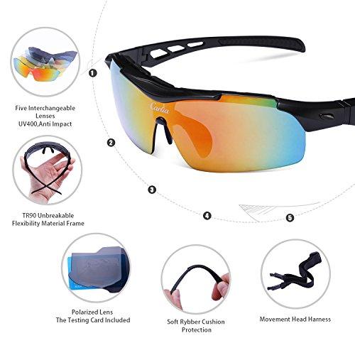 b4b77b8ec Nuevo Carfia TR90 UV400 Unisex Gafas de Sol Deportivas Polarizadas 5 Lentes  de Cambios Incluido para