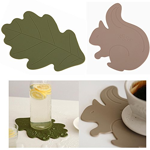 Set of 2 Silicone Hot Pad Multi-purpose Kitchen Tool Pot Holder Spoon Rest Decorative Trivet (Oak+Squirrel)