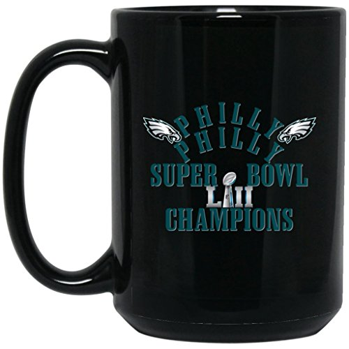 (Philadelphia Eagles Coffee Mug Philly Philly Super Bowl 52 Champions Philadelphia Eagles 15 oz Black Ceramic Cup Perfect for Hot Chocolate and Tea NFL NFC Football Perfect Gift for any Eagles Fan)