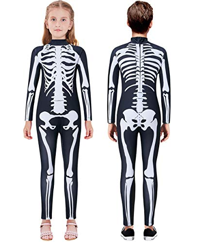 Xo Skeleton Halloween Costume (Lovekider Girls Halloween Costume Black Cosplay Bodysuit Size 9-10 3D Print Bone Skeleton Party Black)