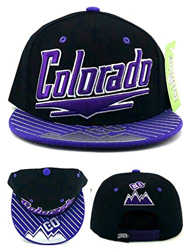 Leader of the Game Colorado New CO Mountain Skyline Chrome Shine Rockies Colors Black Purple Era Snapback Hat Cap