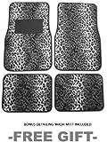 A Set of 4 Universal Fit Animal Print Carpet Floor Mats for Cars / Truck - Snow Leopard & Bonus Detailing WASH MITT