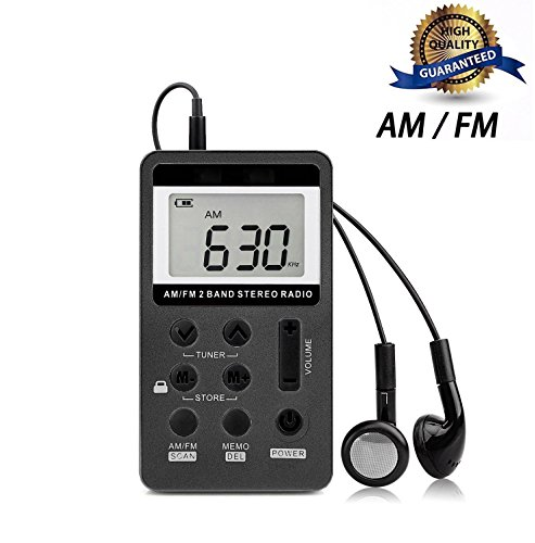 Pocket Radio, Mini AM FM Digital Portable Radio Portable With LCD Screen/Rechargeable Battery And The Earbuds For Walk .(Black) by Noeeyi