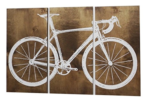 - Road Bike / Street Bike Wall Art / Bicycle Screen Print / Wood Painting Wall Art on Stained Solid BIRCH 3/4 inch thick • Gift for Him / Her