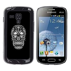 // PHONE CASE GIFT // Duro Estuche protector PC Cáscara Plástico Carcasa Funda Hard Protective Case for Samsung Galaxy S Duos S7562 / DARK GOTH SUGAR SKULL /