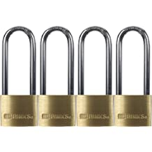 Brinks 161-42401 1-9/16-Inch 40mm Solid Brass Padlock with 2.5-Inch Shackle, 4-Pack