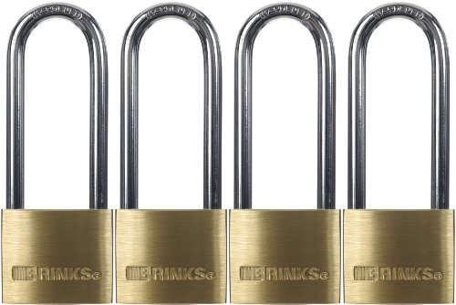 Brinks 161-42401 1-9/16-Inch 40mm Solid Brass Padlock with 2.5-Inch Shackle, 4-Pack (Safety Pin Shackle Body)