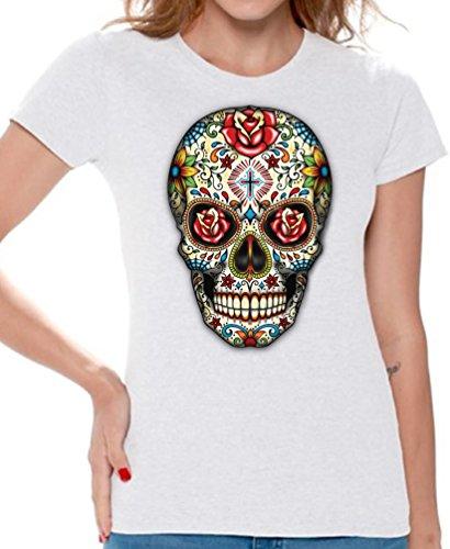 White Rose Sugar (Awkward Styles Awkwardstyles Women's Rose Eyes Skull T-Shirt Sugar Skull Dead Shirt + Bookmark L White)