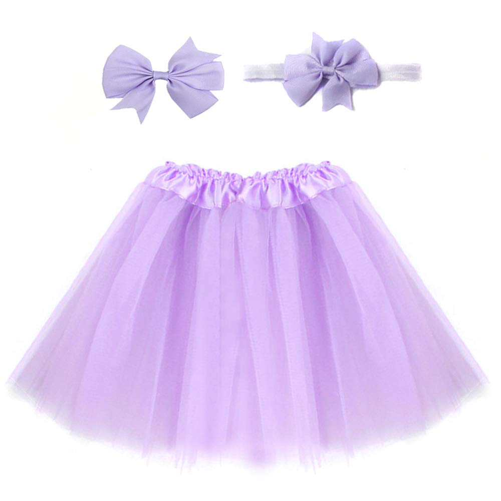 Hongfutong Sweet Candy Color Girl Tutu Skirt//Cute Fluffy Tulle Dance Costume Vibrant Color Send Headband and Hairpin