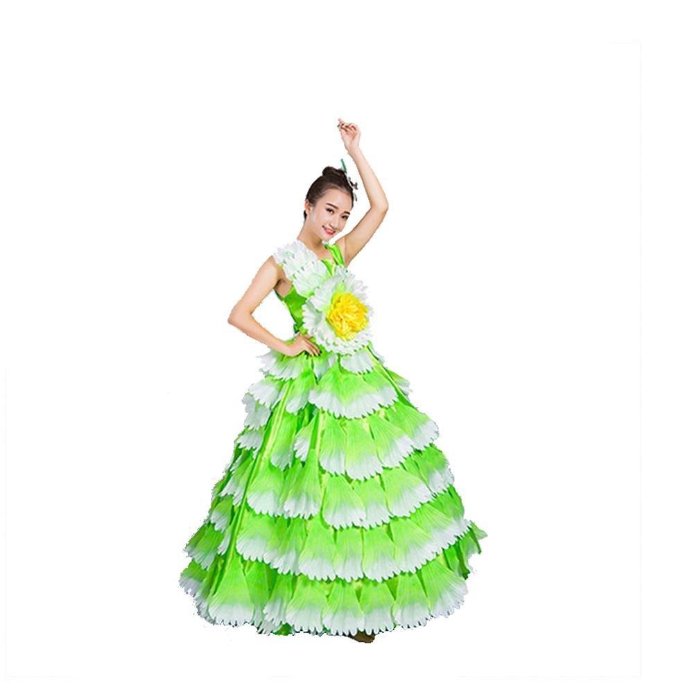 Vert skirt 720 Wgwioo femmes Flamenco Dress 180 360 540 720 Devert sans Manches Entreprise Affaires Scolaires Fleurs Pétales Jupe Scène Ouverture Danse Robe Perforhommece Chorus S