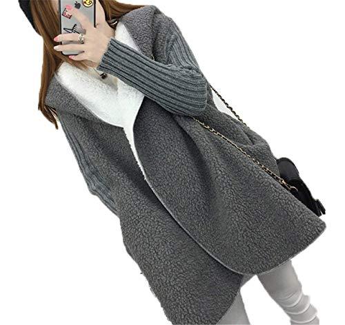 Manica Donna Cappotto Invernali Lunga Style Autunno A Outerwear Comodo Casual Cardigan Ragazze Festa Emmay Grau Baggy Incappucciato Maglia Calda 0BI5OwqAW
