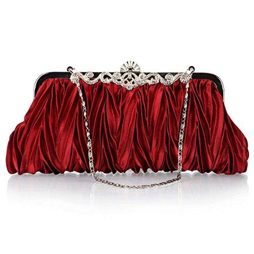 MAFMO Fashion Women Evening Bag Satin Pleated Envelope Cocktail Party Handbag Clutch Wedding Purse (Dark Red)
