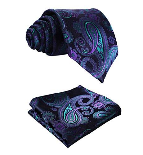 HISDERN Extra Long Floral Paislry Tie Handkerchief Men's Necktie & Pocket Square Set (Blue & Green & Purple)
