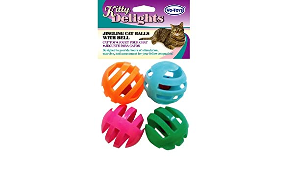 Amazon.com: Vo-Toys 15814 Assorted Colors Balls With Bells Cat Toy (4 Count): Home & Kitchen