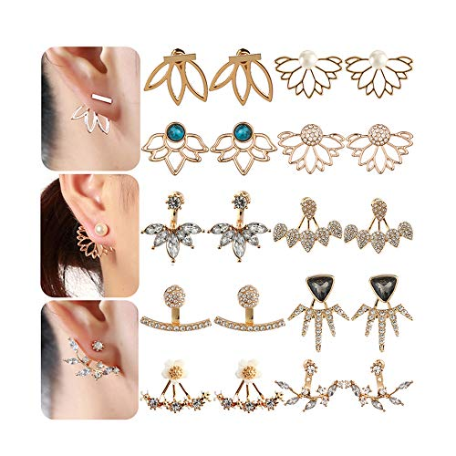 (10 Pairs Multiple Dainty Lotus Flower Ear Jacket Earrings-Minimalism CZ Bar Turquoise Studs-White Rose Gold Plated Statement Chic Fashion Stud Earring Set New Year for Teens Girl Women)