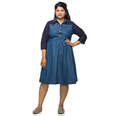 08ed2135f20 Xxllent Plus Size Knee Length Denim Dress: Amazon.in: Clothing & Accessories