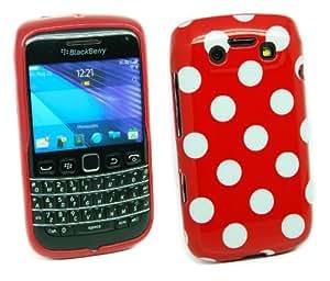 Kit Me Out ES ® Funda de gel TPU para BlackBerry Bold 9790 - Rojo, Blanco Lunares