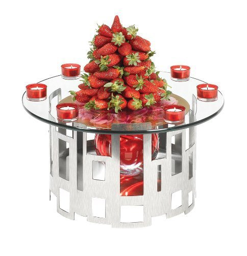 Rosseto SK011 Stainless Steel and Glass 2-Piece Round Buffet Riser Kit by Rosseto