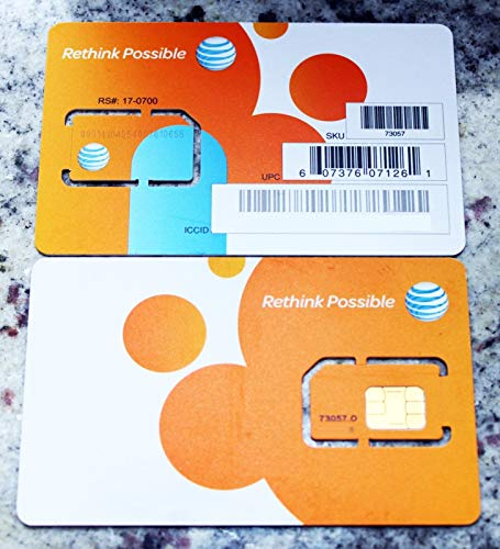 AT&T Wireless Newest 3G / 4G / LTE Sim Card - Postpaid /Go Phone Prepaid - SKU 73057 ATT Sim (Card Gophone Sim)