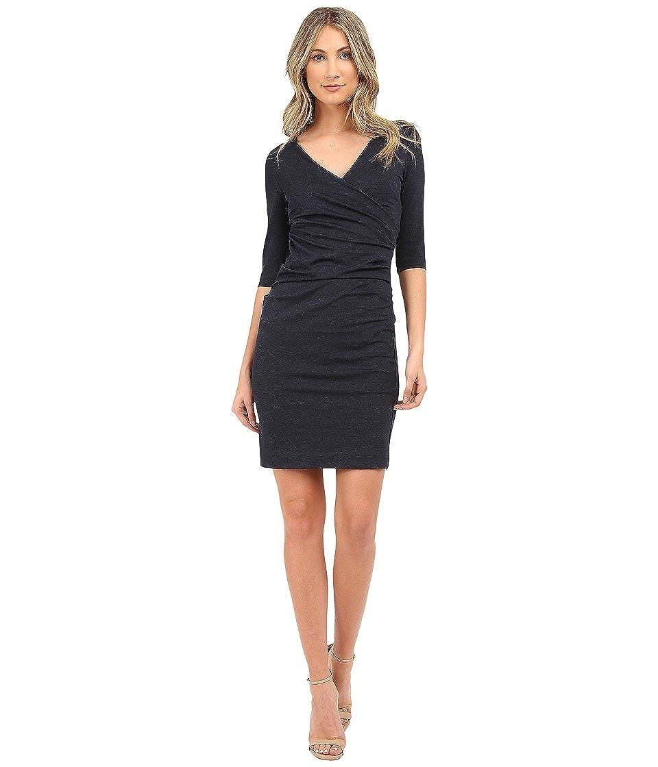 Nicole Miller Womens Jersey 3//4 Sleeve Tuck Dress