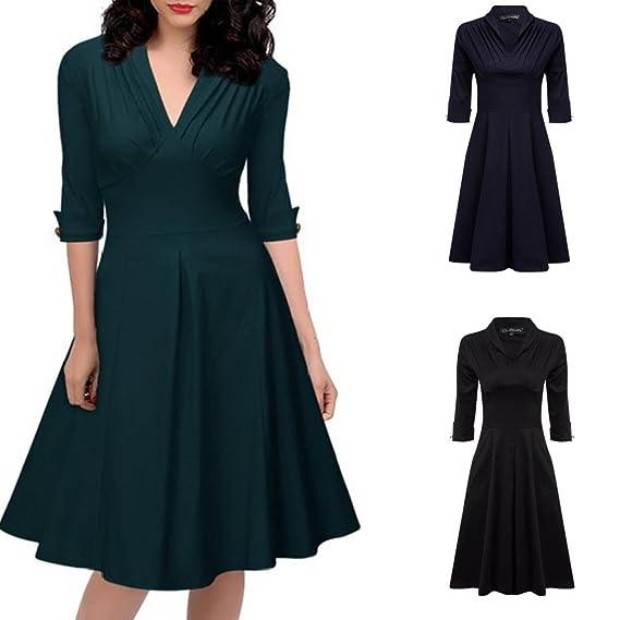 RoseGal vintage década de 1940, manga 3/4, cuello en V, una línea formal, acampanado, falda circular, para boda, té, cóctel, vestido de camisa verde verde ...