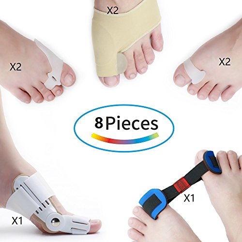 Bunion Corrector,Big Toe Straightener Hallux Valgus Night,Bunion Splint,Toe Separators,Bunions Relief Protector Sleeves Kit - Treat Pain in Toe Joint, Spacers Straighteners Aid Surgery Treatment by Aowfootcare