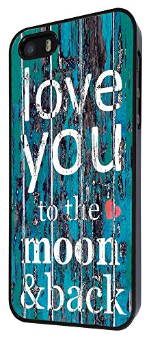 556 - Cool Funky I Love You To The Moon and Back Design iphone 5 5S Coque Fashion Trend Case Coque Protection Cover plastique et métal - Noir