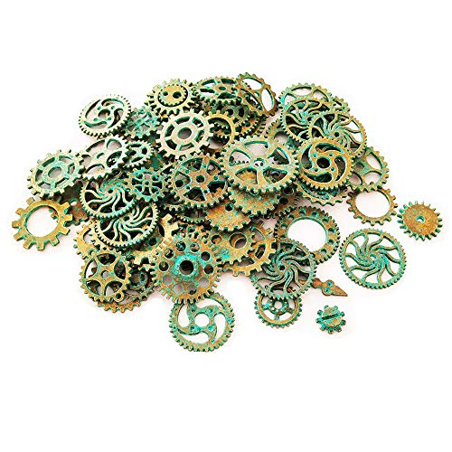 (Czorange 100 Gram Ancient Green Vintage Steampunk Gears Cogs Charms Pendant Clock Watch Wheel for Jewelry Making Supplies, Steampunk Accessories, Craft)