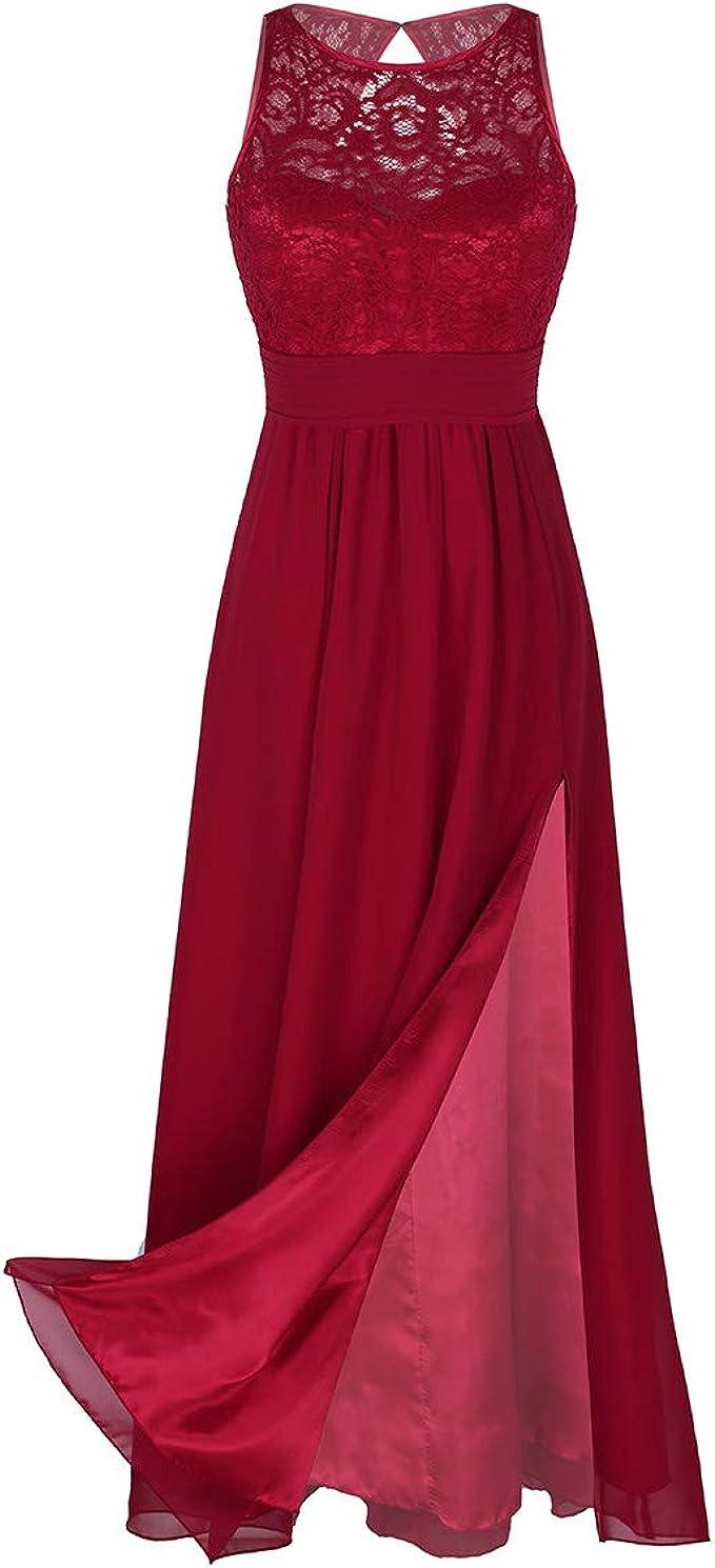 TiaoBug Elegant Kleider Lang Spitzenkleid festlich Chiffon