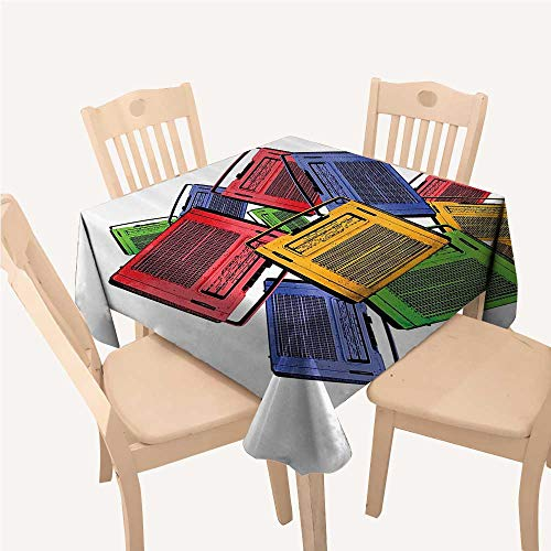 WilliamsDecor 1960s Decorations Collection Kitchen Table Cover Old Colorful Vintage Retro Radio and Antique Aged Sound Play Music History Image Yellow Green Red Square Tablecloth W60 xL60 -
